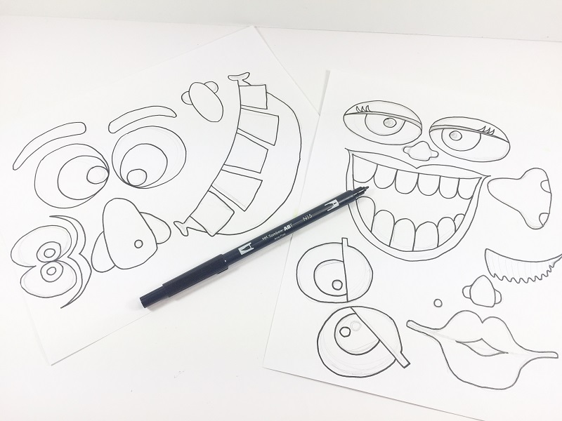 Line Drawing Monster : Quick and easy no carve monster pumpkins tombow usa