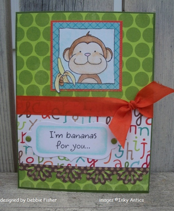 INKY ANTICS HoneyPop Clear Stamps MONKEY I/'m Bananas For You