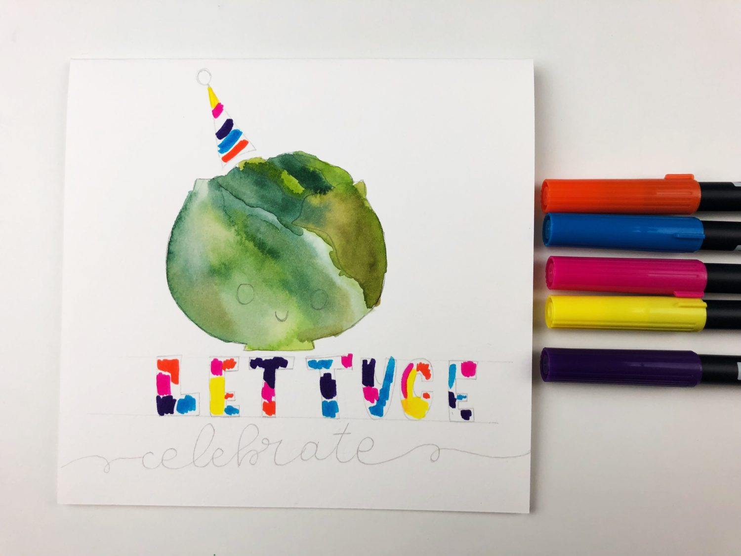 How to make a punny watercolor card using #Tombow Dual Brush Pens