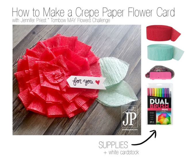 How to make crepe paper flowers may flowers challenge tombow usa crepe paper flower card polyvore jpriest mightylinksfo
