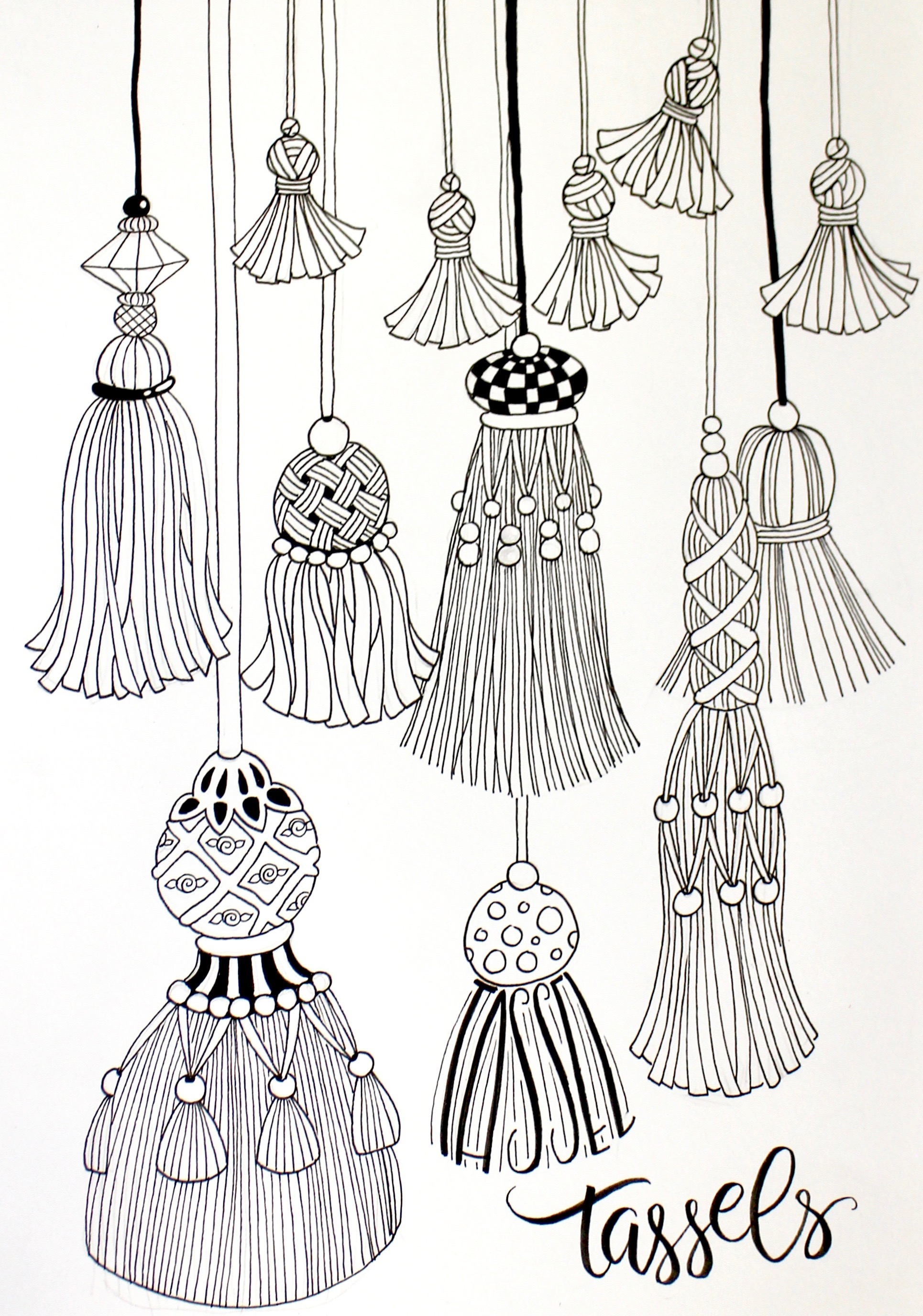 Black and White drawing Fringe and Tassels marie Browning