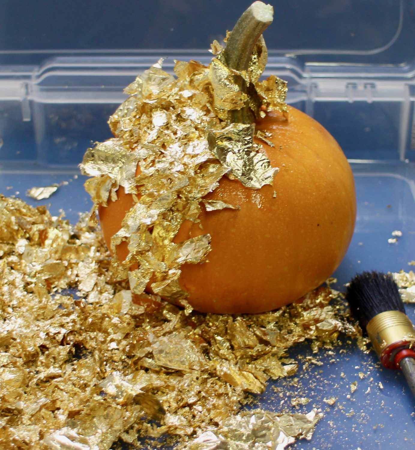 Apply gold leaf to dry adhesive @mariebrowning #tombowusa #autumndecor