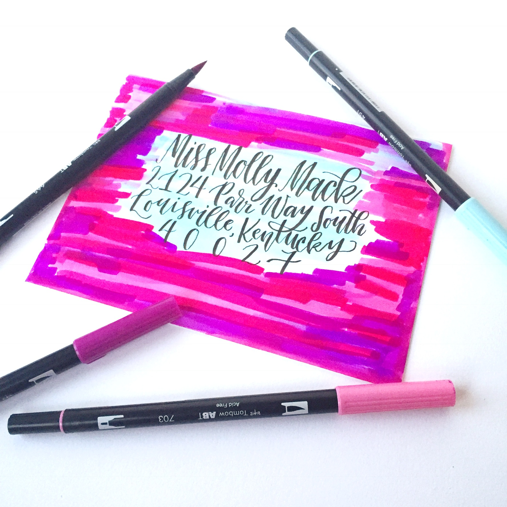 Lauren Fitzmaurice of @renmadecalligraphy teaches you 10 Happy Mail Hacks to use with your Tombow USA products! Use these tips and tricks to make a fun and creative envelope in 10 minutes or less! For more lettering tips and tricks check out renmadecalligraphy.com.