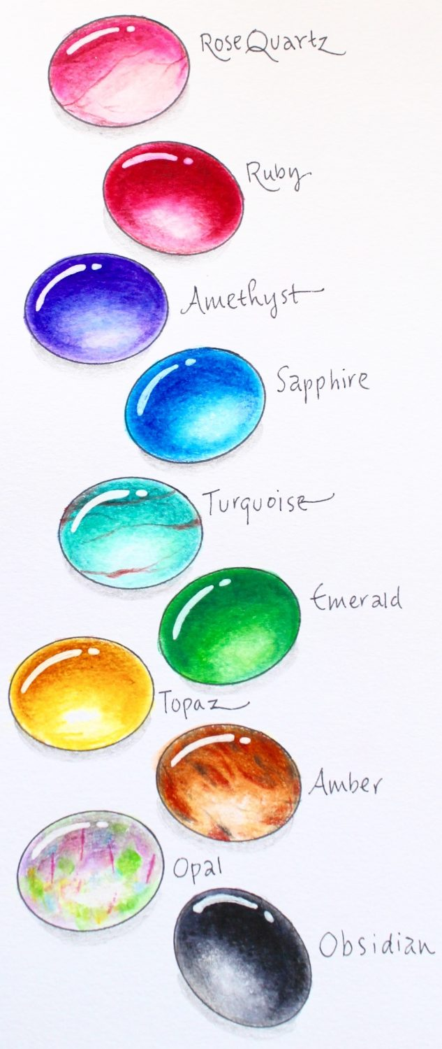 How To Draw Gems With Markers And Colored Pencils Step By Step Tutorial  From @