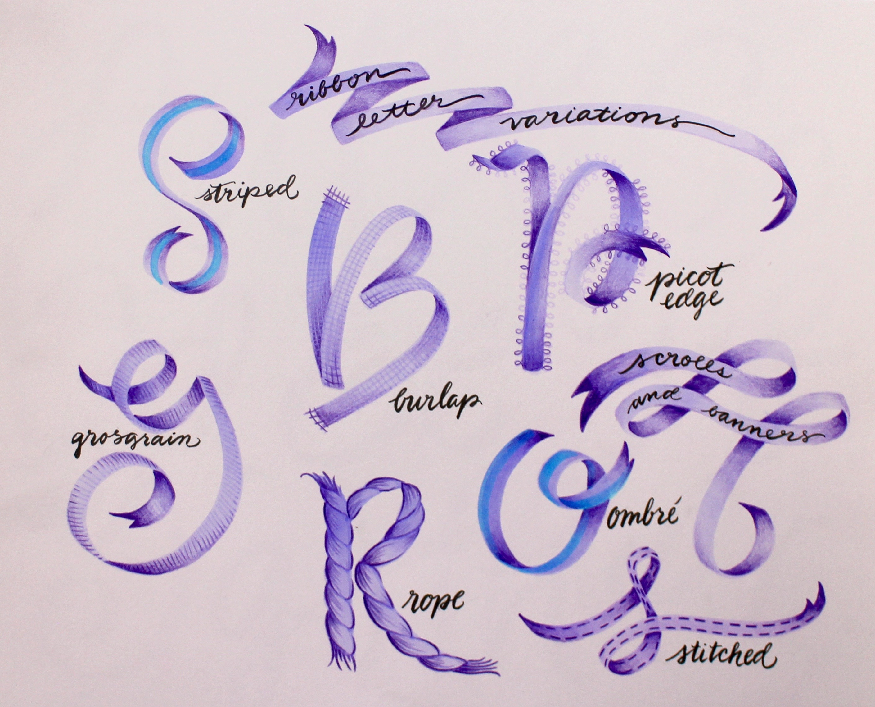 Ribbon Lettering examples of variations