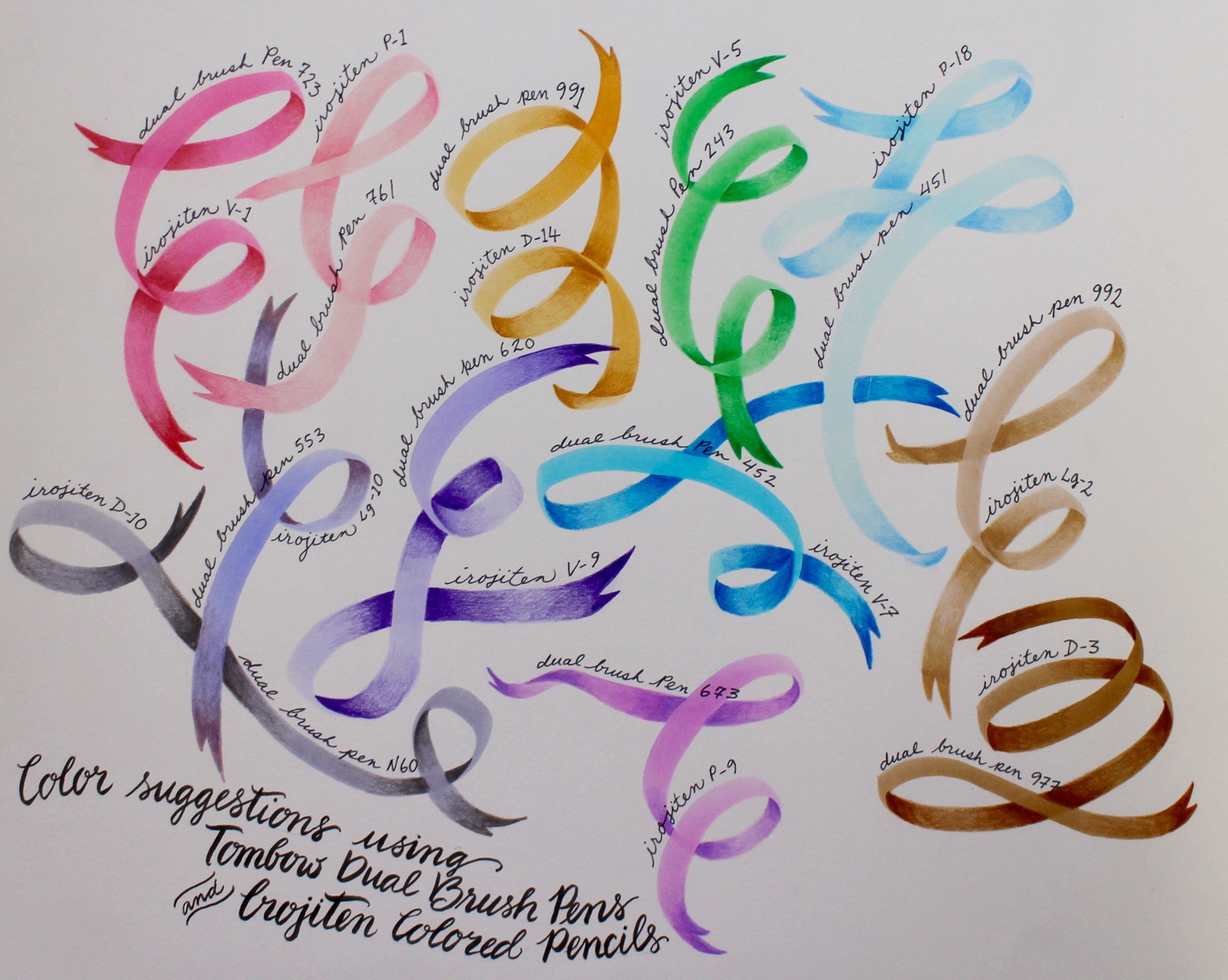 Color suggestions using Irojitens and Dual Brush Pens