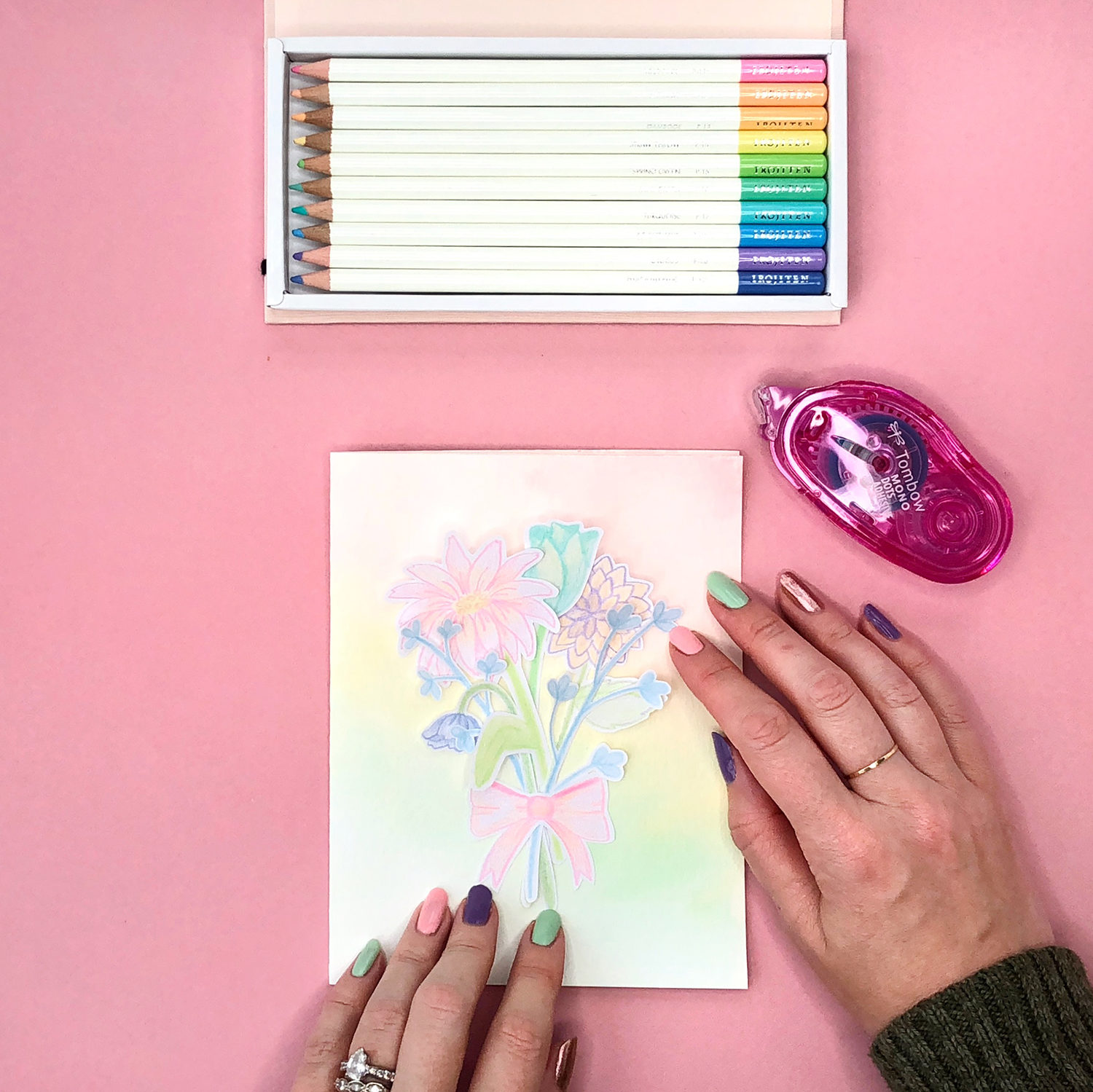 Cute colored pencil cards for spring tombow usa blog