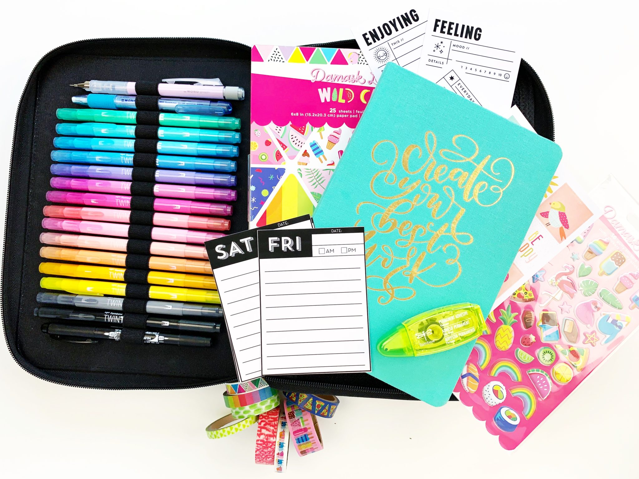 Put a few items on the Tombow Zippered Marker Storage Case to make a crafty kit to take on the go! #tombow #craft