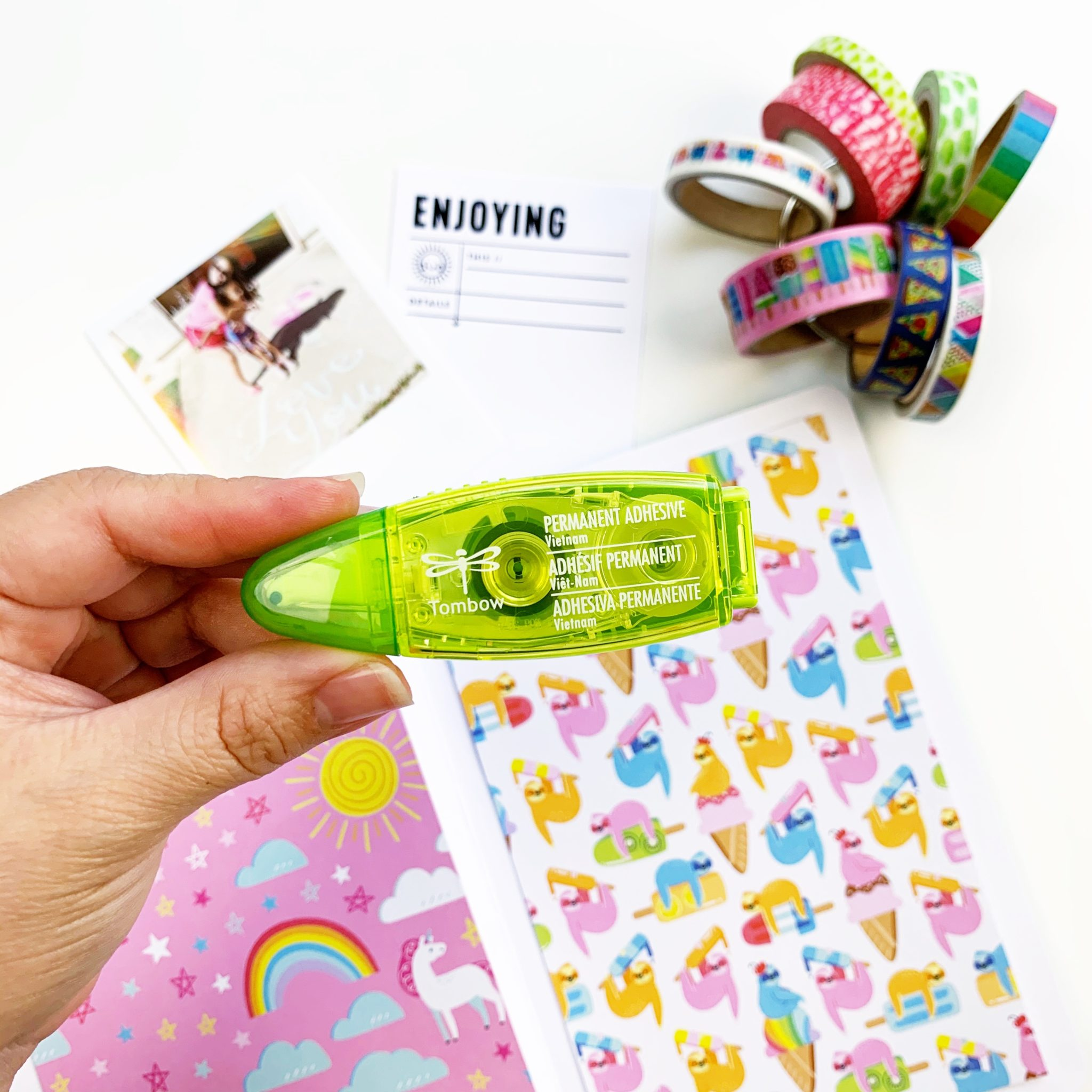 My favorite adhesive for these little kits is the Tombow Mini Glue Tape!  #tombow #crafty