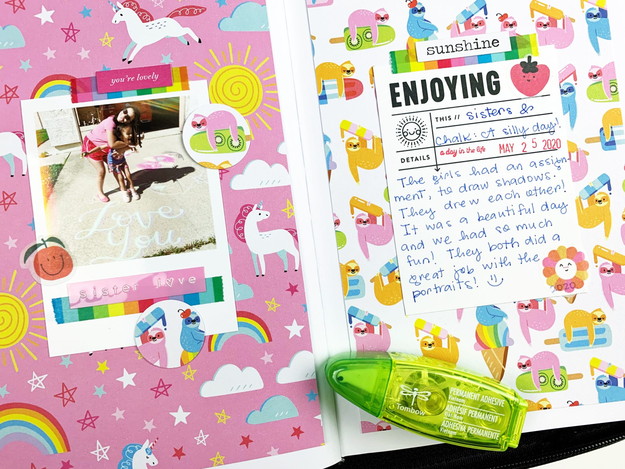Use the Tombow TwinTone Dual Tip Markers to write the journaling. #tombow #memorykeeping