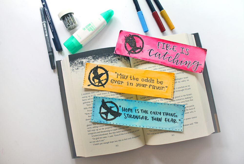 diy the hunger games themed heat embossed bookmarks