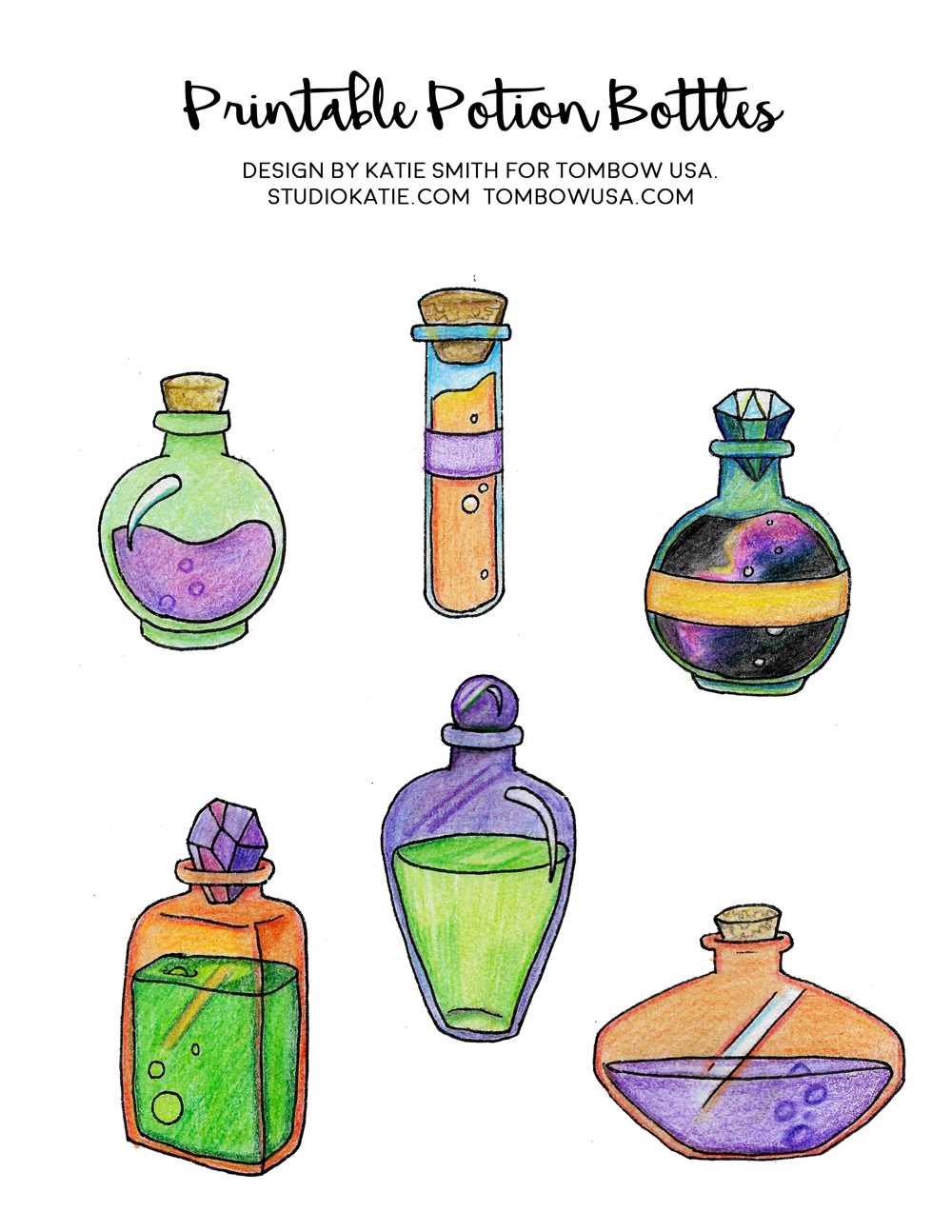 How To Draw Potion Bottles For Halloween With Tombow Usa