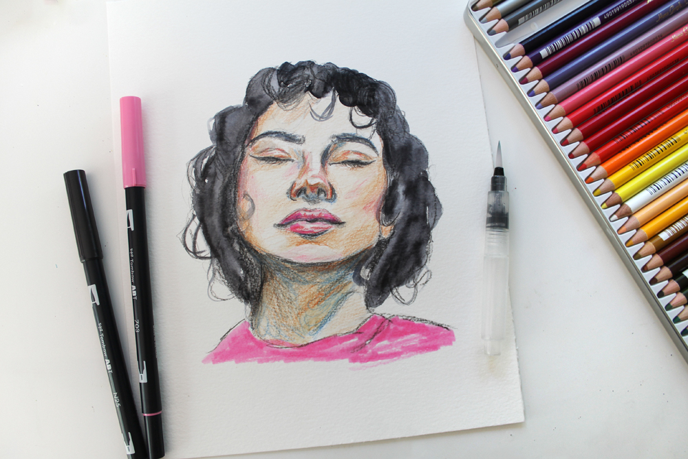 Mixed Media Sketching Using Colored Pencils Tombow Usa Blog