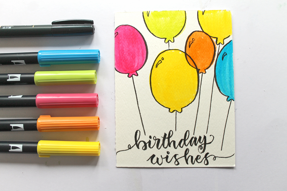 Watercolor Birthday Cards Tutorial ~ Birthday cards you can make in under minutes tombow usa