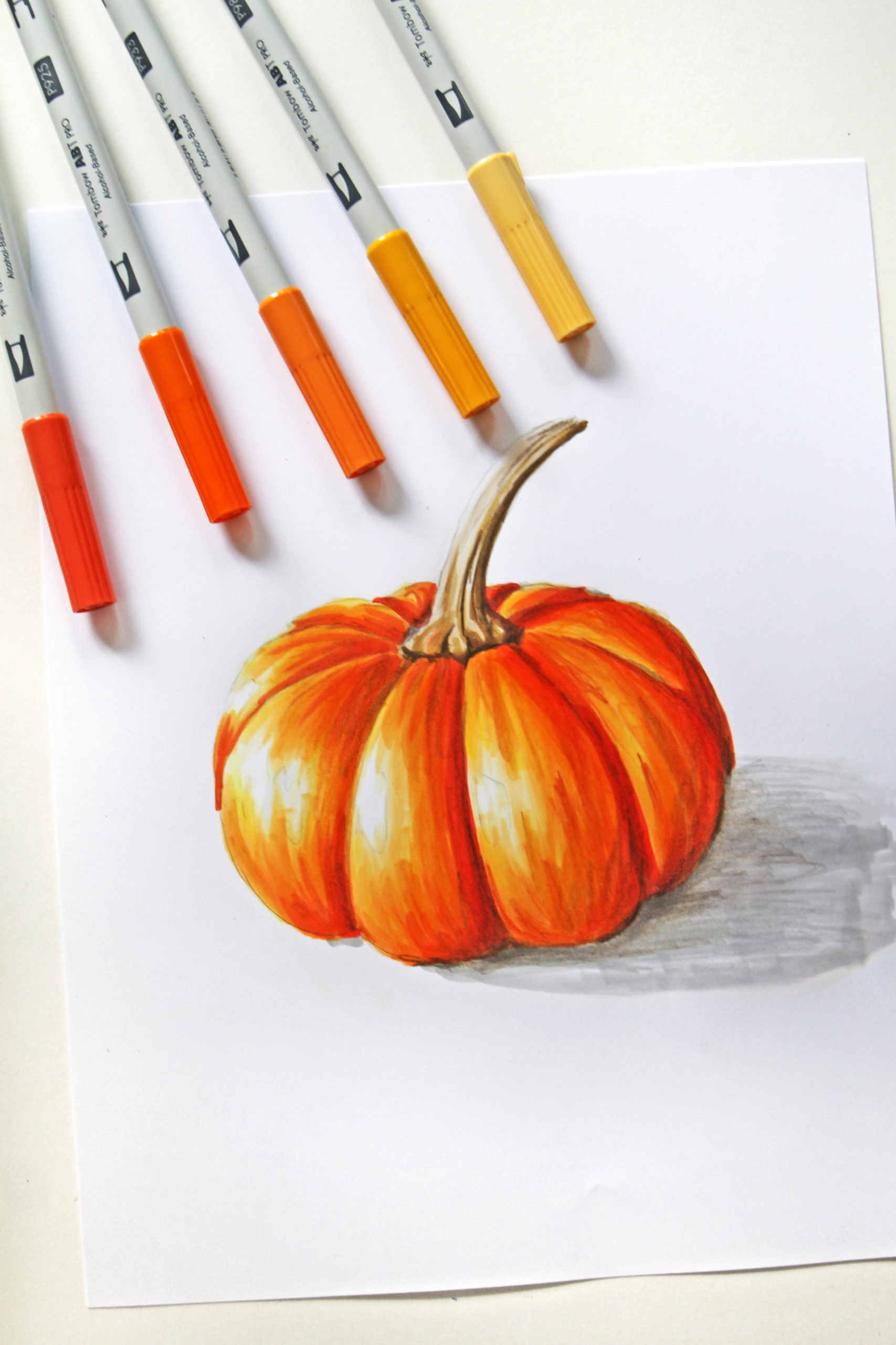 How To Draw A Realistic Pumpkin Tombow Usa Blog