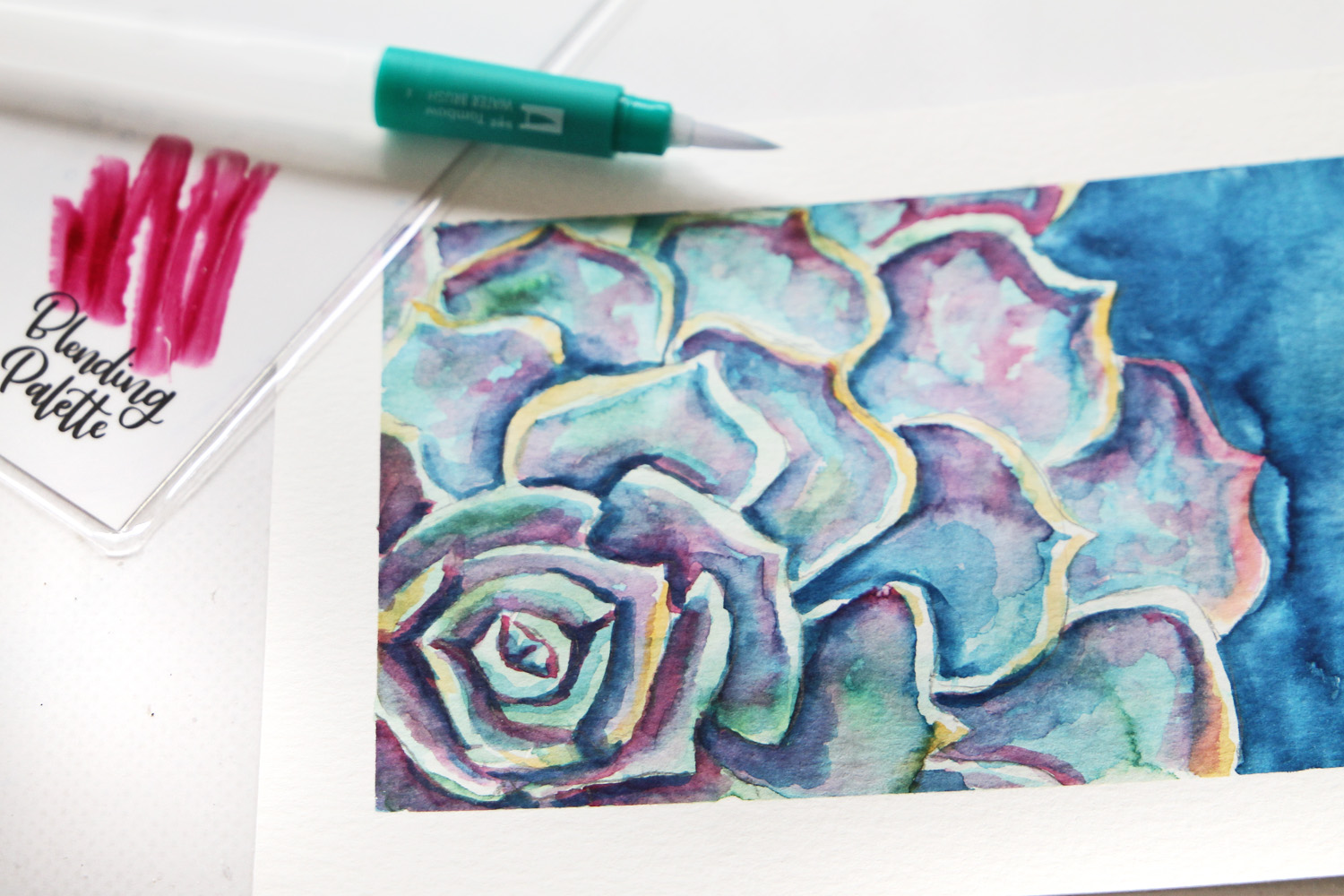How To Paint A Watercolor Succulent Tombow Usa Blog