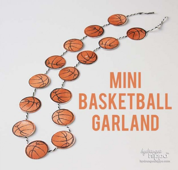 Mini Basketball Garland with Punched Paper Basketballs and Tombow Mono Permanent Adhesive Runner 630