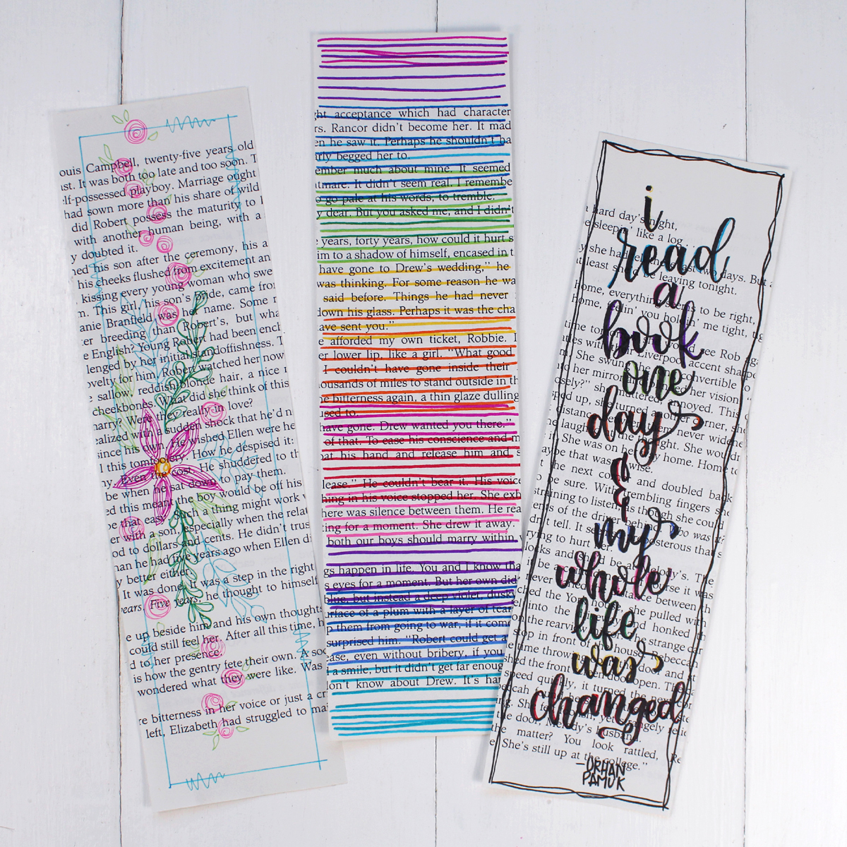 Finally, run them through a laminating machine. It makes the colors burst off the page. If you don't have access to a laminator, use a roll of packing tape to cover the bookmarks on both sides. Then trim the extra plastic with scissors.