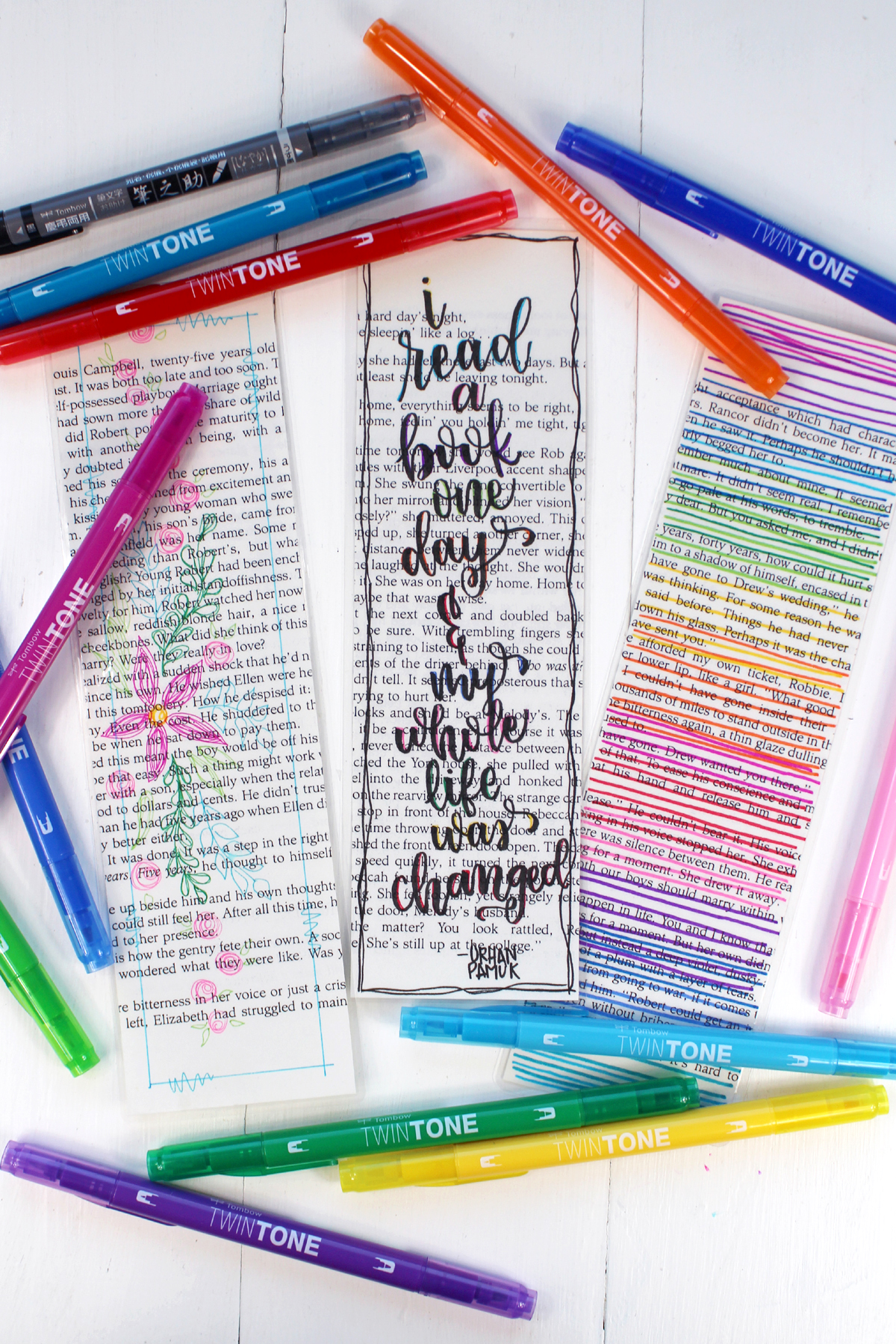 Give each student a precut book page and have them decorate them and write their name on the back in pencil. Then gather them and laminate them. Take them a step further and have students punch a hole and add a yarn tassel. Enjoy!