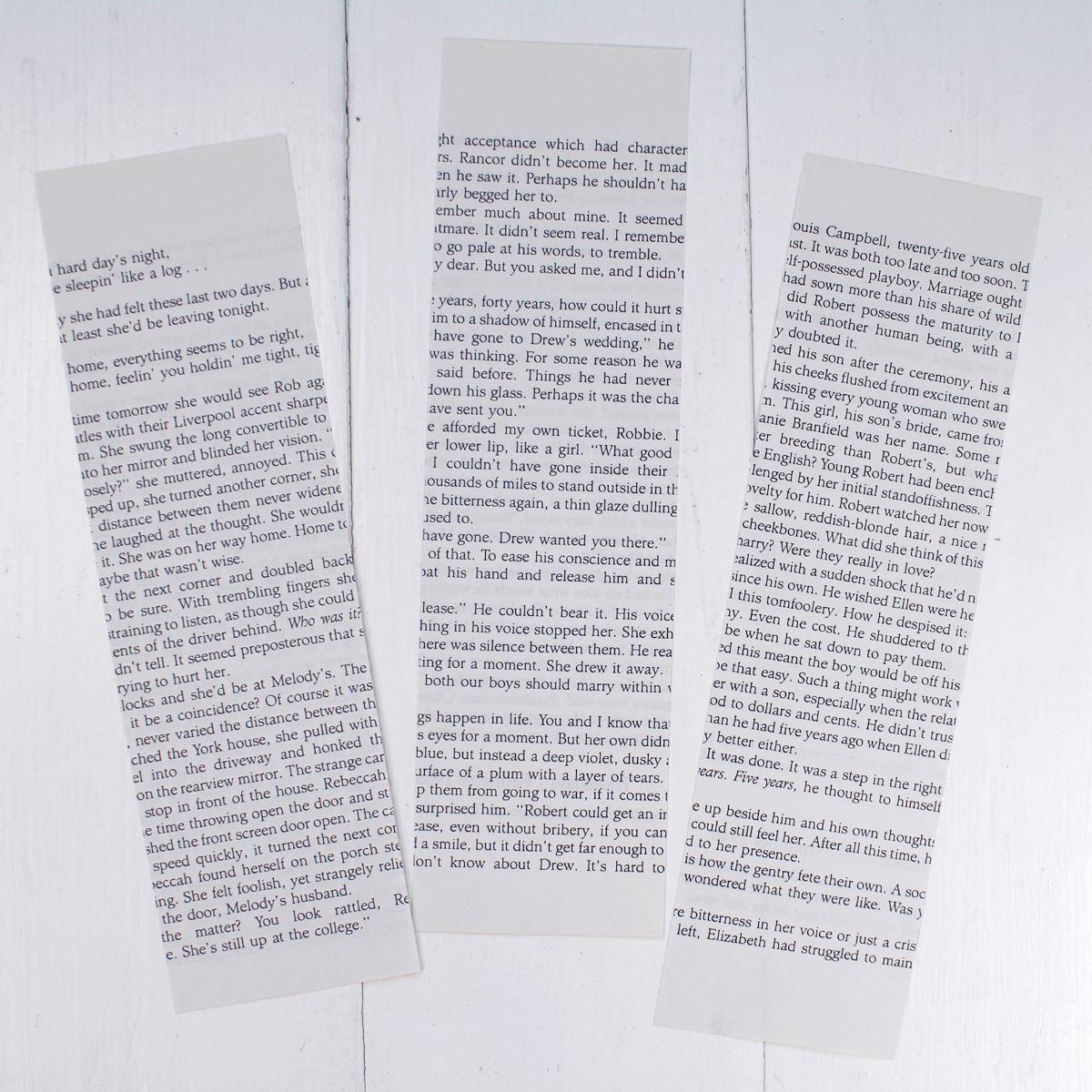 Begin by cutting up pages of the book into strips 2.5 inches wide. It's hard to cut into a good book--so find one with water damage, torn pages, already colored in or on its way to the trash.