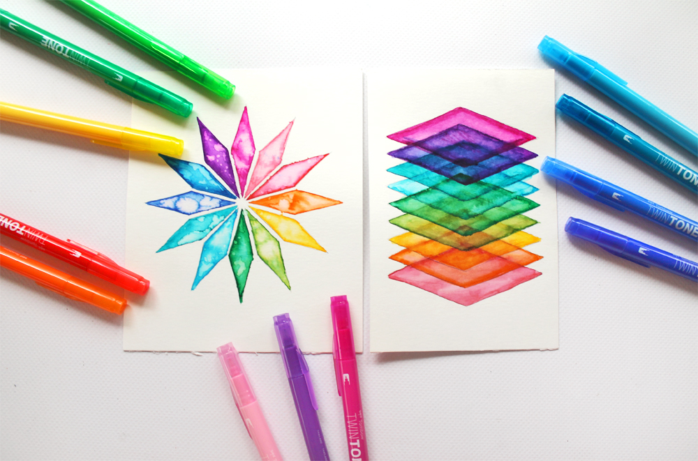 Learn how to make geometric rainbow art using @tombowusa Twin Tone Markers with this tutorial by @studiokatie