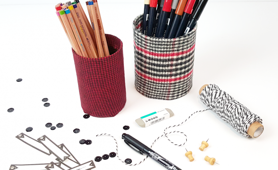 Recycled-Plaid-Fabric-Pencil-Cup-TOMBOW-JPriest