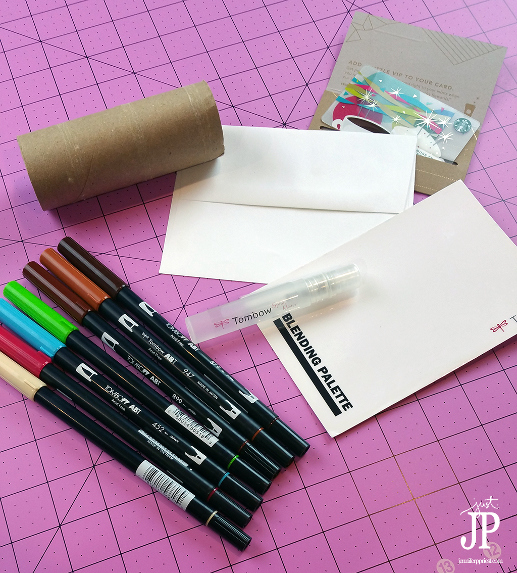 Supplies-for-creating-mail-art---Starbucks-inspired-Tombow-JPriest