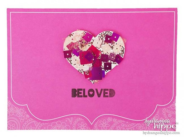 TOMBOW 5 Minute Card - Beloved Sequin Heart Card with Glitter - by Jennifer Priest 650
