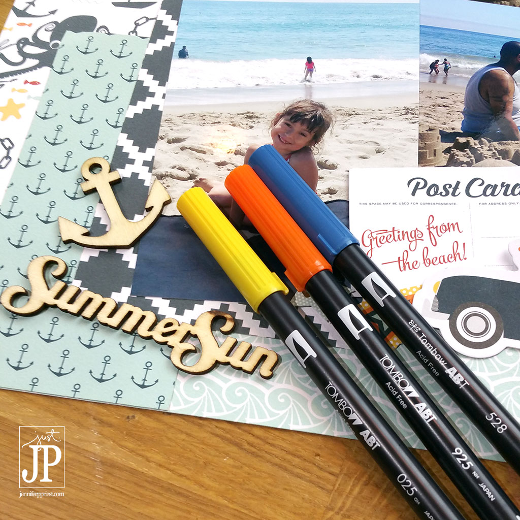 Tombow Markers will color wood veneer shapes for Scrapbooking JPriest