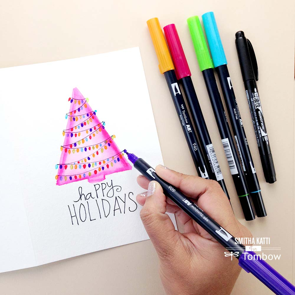 Diy Hand Painted Holiday Cards Tombow Usa Blog