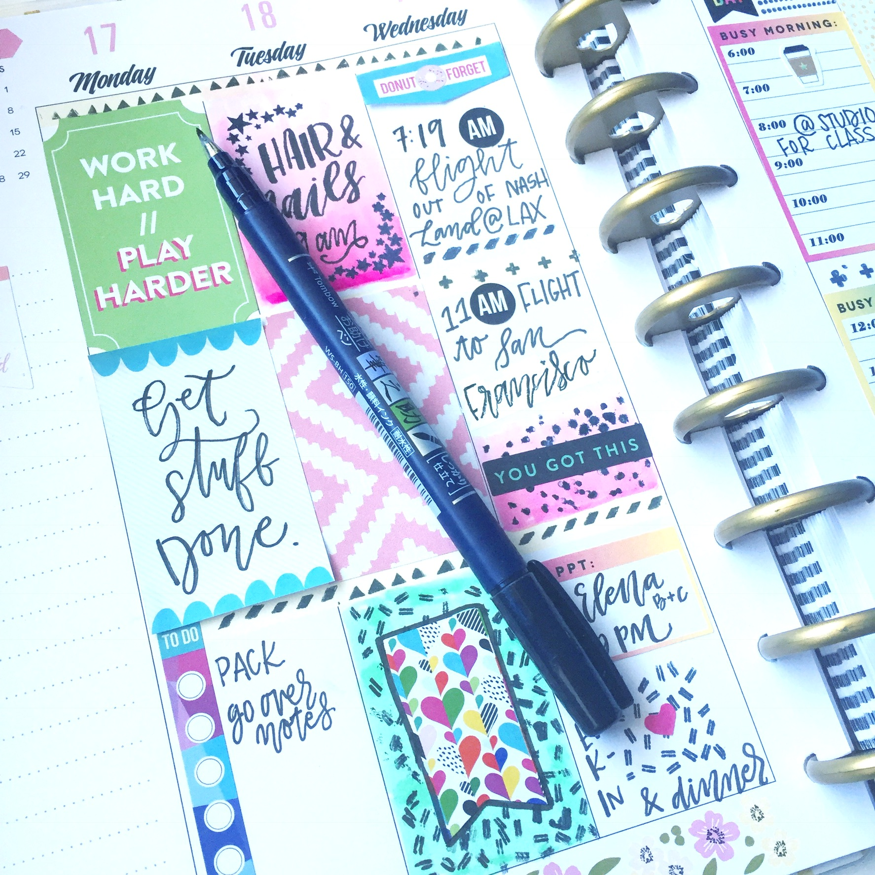 Learn some techniques for how to add color and patterns to your planner with @waffleflower and @tombowusa products. Lauren of @renmadecalligraphy (renmadecalligraphy.com) loves to give lettering and crafting tips!