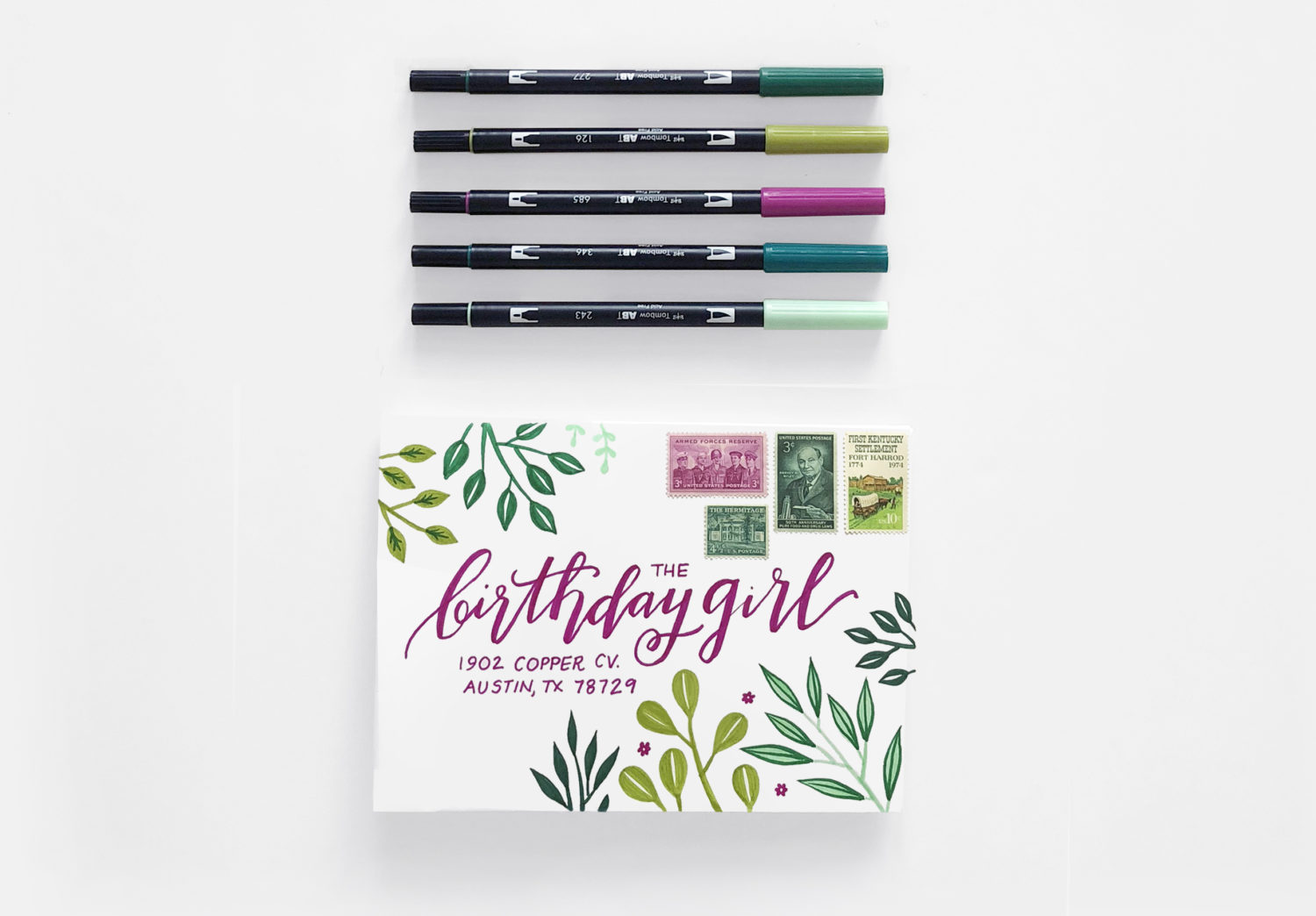 create a birthday card and envelope with one sheet of paper tombow