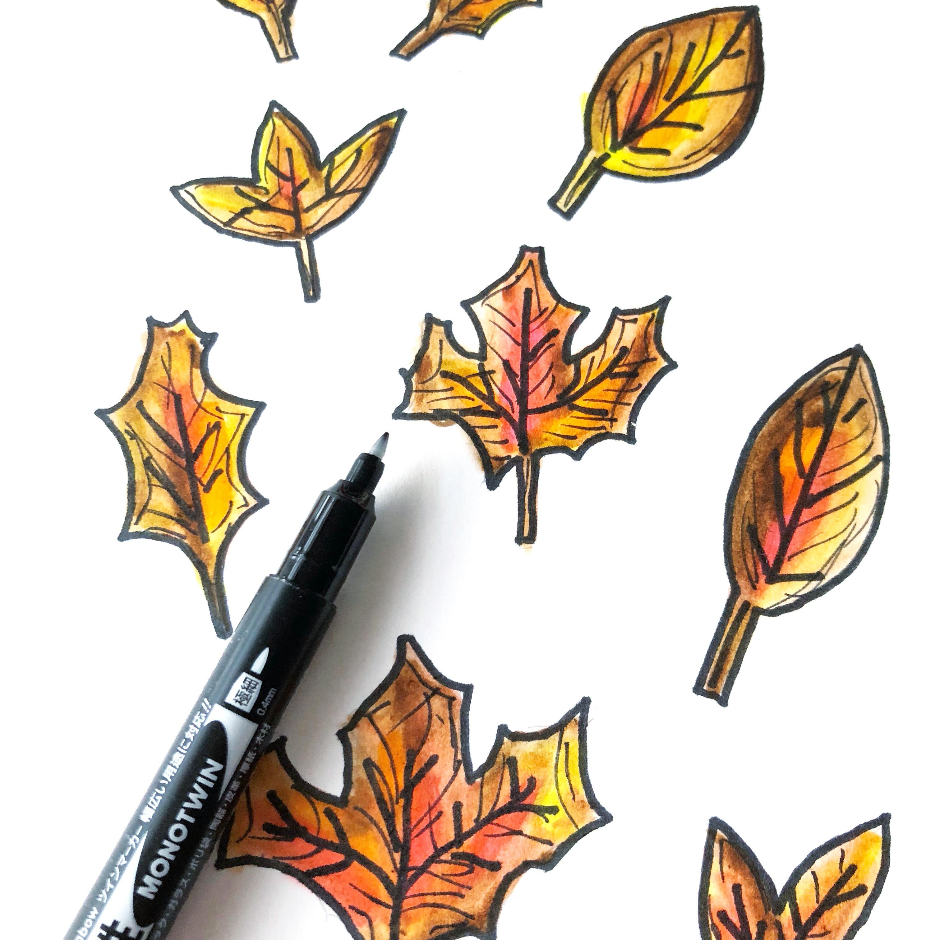Diy Fall Leaves Doodle Frame Mat Tombow Usa Blog