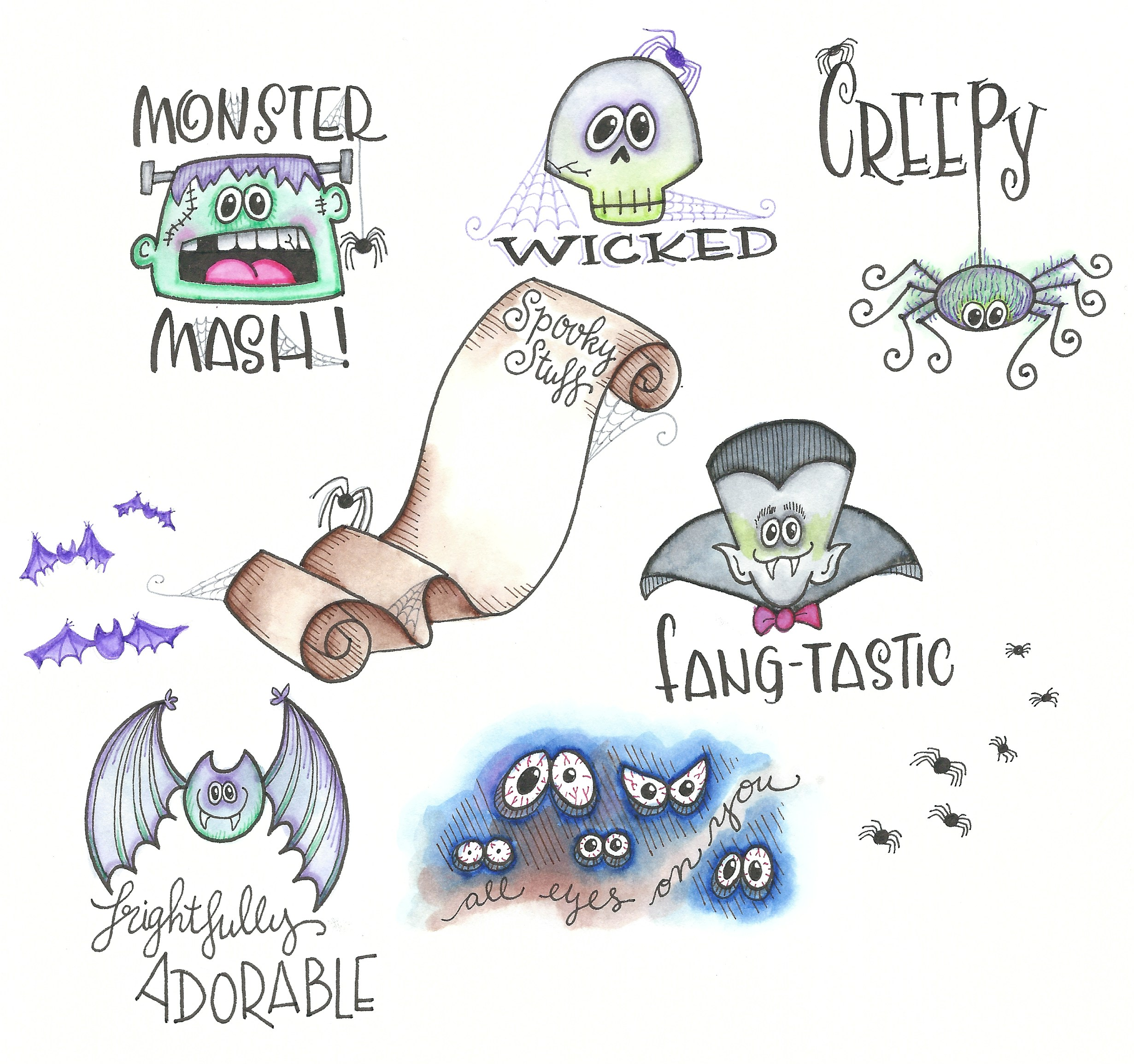 more Halloween Doodles @mariebrowning #tombow #monodrawingpen #twintone
