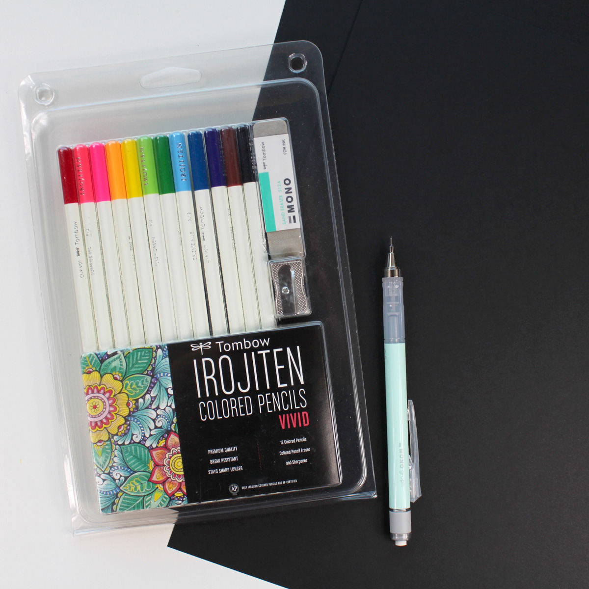 Supplies needed to learn bounce lettering using irojiten colored pencils.