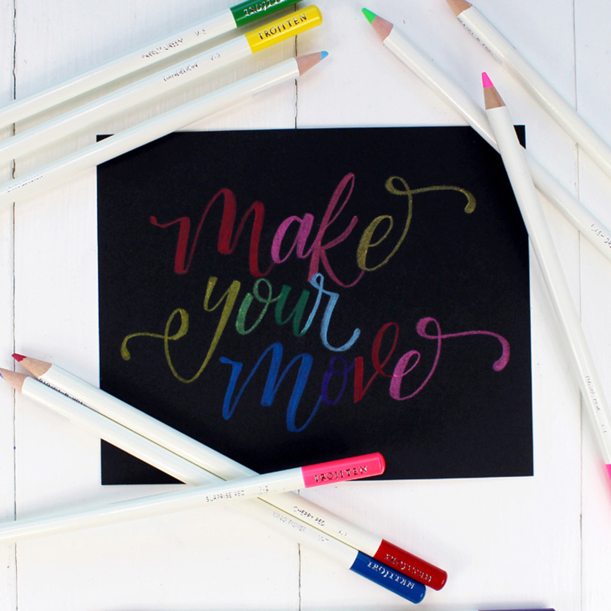 Learn bounce lettering using Tombow Irojiten Colored Pencils to create stunning works of art; perfect for handmade cards, home decor or other papercrafting.
