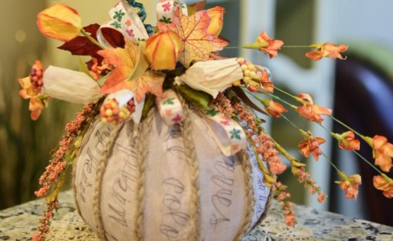 Fabric Covered Pumpkin Centerpiece