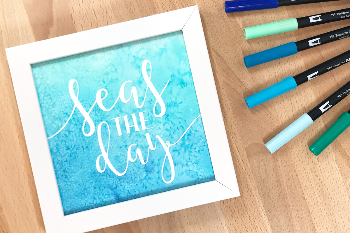 seas the day watercolored art print diy decor Tombow PopFizzPaper #tombowusa #popfizzpaper #artprint #watercolor #diydecor