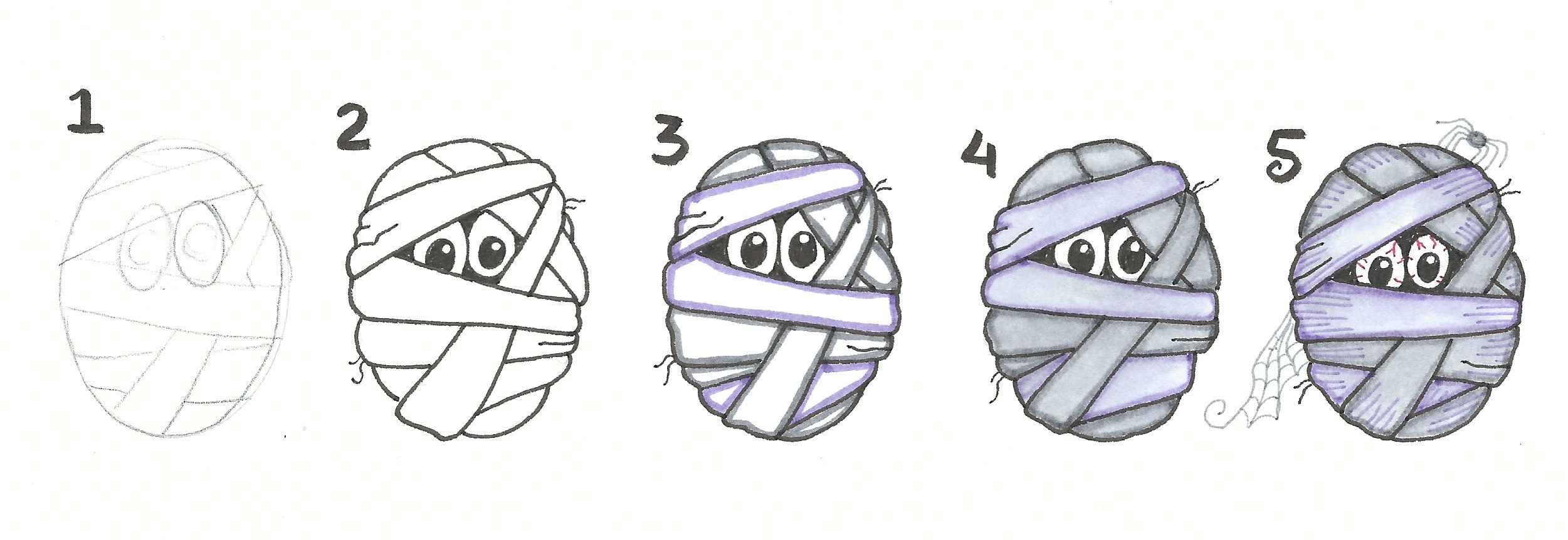 5 step Halloween Doodles @mariebrowning #tombow #monodrawingpen #twintone